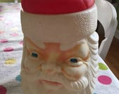 Vintage 1973 Santa plastique Blow Mold Cookie Jar