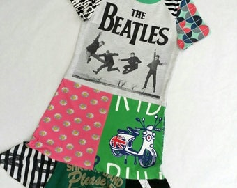Size 14 upcycled girls dress, girls clothing, children's clothing, kids clothes, kidswear, girl, teen dress, upcycling, girls dress,Beatles