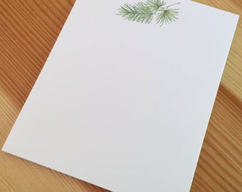 Pine Branch Notepad - Small Watercolor Jack Pine Notepad - 4 x 5 Handmade Pine Branch Notepad - Gardener Gift - 40 Sheet Notepad