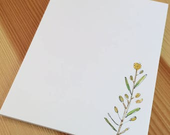 Wildgrass Wildflower Notepad - Small Watercolor Wild Grass Weed Notepad - 4 x 5 Handmade Notepad - Gardener Gift - 40 Sheet Notepad