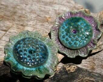 Handmade Porcelain Shank Button Set of 2