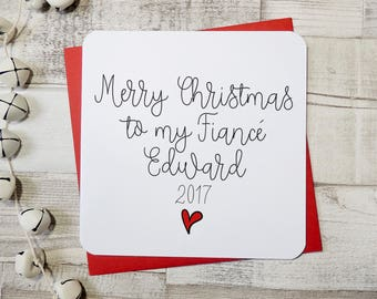 Personalised fiancé card, personalised christmas card, fiancé card, husband to be card, personalised card, name card, uk seller, parsy card