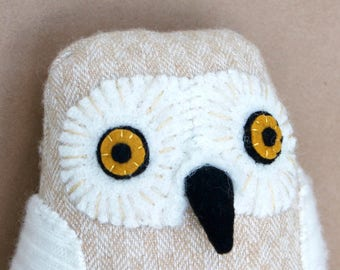 Snowy owl reclaimed wool doll plush softie