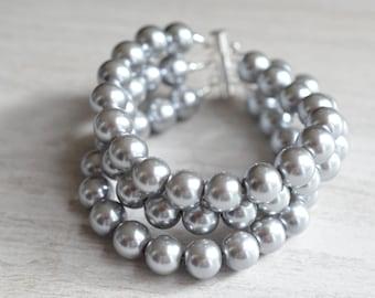Michelle - Pewter Pearl Bridesmaid Bracelet