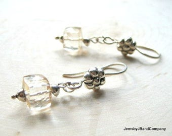 Quartz Cube Earrings, Square Champagne Drops, Neutral Tones, Modern Quartz Faceted Earrings, Silver Flower Ear Wires, Dainty Gift for Her