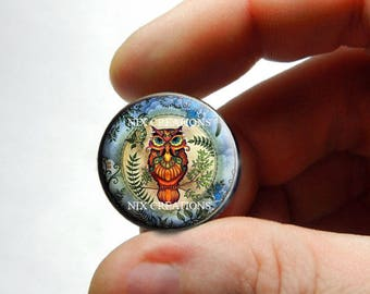 Retro Glass Owl Cabochon for Jewelry and Pendant Making - Design 10