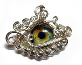 Wire Wrap Eye Pendant - MADE TO ORDER - with a Sterling Silver Necklace Option. Choose any eye from my shop