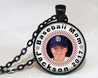 Baseball Mom Customized Pendant, Necklace or Key Chain - Name, Year and Photo - Custom Photo, Sports, Baseball