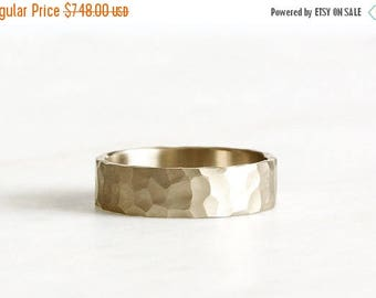 ON SALE 14k gold wedding band, hand carved texture, eco friendly, handmade, 6mm, wedding ring, recycled wedding band
