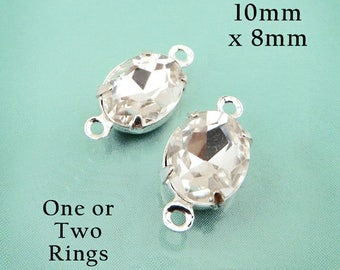 Crystal Glass Beads - 10x8 Oval Rhinestones - Silver or Brass Settings - Glass Gems - Bridal Jewels - Jewelry Supply - One Pair