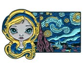 Alice in the Starry Night Collectible Enamel Pin by Jasmine Becket-Griffith Art lapel pin button wonderland lewis carroll vincent van gogh