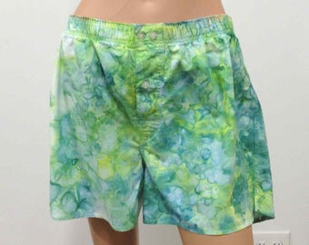 Boxer Shorts US Size L 35-36 GAP Hand Dyed Large Mens Underwear Underpants Skivvies Fun Colorful Playful Novelty Green Teal Lime White Blue