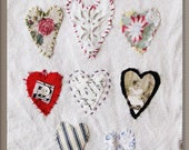 Art quilt, hand stitched, hearts, antique baby photo