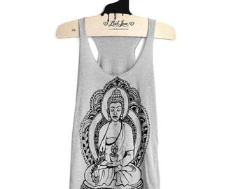 XL -Tri-Blend Light Gray Racerback Tank with Buddha Screen Print