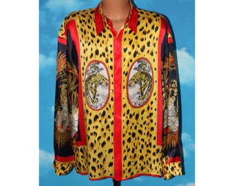 Versai Tiger Versace Style all over Print Silk Long Sleeve Button Up XL Shirt Vintage 1990s