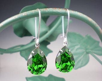 SUMMER SALE 3 Pairs of Fern Green Rhinestone Earrings Wedding Jewelry Bridesmaid Earrings Swarovski Emerald Green MADE To Order