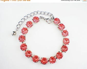 SUMMER SALE 5 Rose Peach Rhinestone Bracelets Coral Pink Swarovski Wedding Jewelry Bridesmaid Jewelry MADE To Order