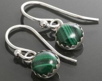 Malachite Dangle Earrings. Sterling Silver. Genuine Malachite. 6mm Round. Lightweight Earrings. f15e004