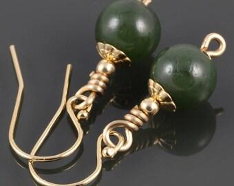 Genuine Jade Earrings. Gold Filled Ear Wires. Nephrite Jade. Small Drop Earrings. f17e030