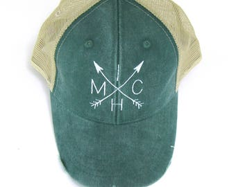 Distressed Snapback Trucker Hat - Michigan arrows White on Green