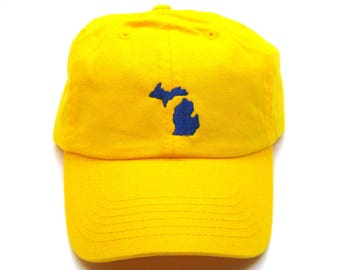 Low Profile Full Coverage Dad Hat - Navy on Yellow Michigan - All States Available