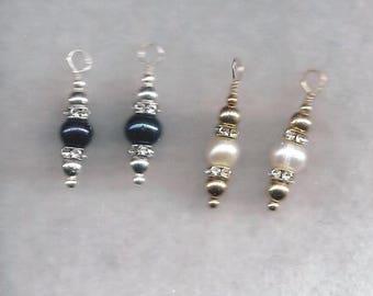 ON SALE Black & White Pearl Earrings,Black Pearl Earrings,White Pearl Earrings,Pearl Earrings