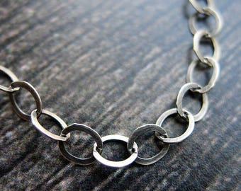 Antiqued Sterling Silver Flattened Cable Chain - 4mm - by the foot