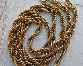 """Gold-Tone Stainless Steel Woven Link Chain Necklace - 26"""" in length"""