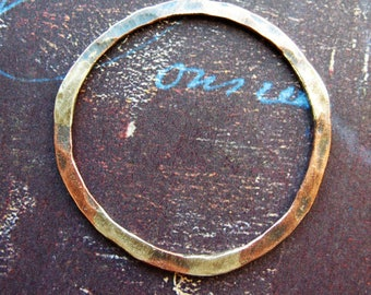 Antiqued Fused Silver and Copper Hoop Pendant - 14g - 34mm in length