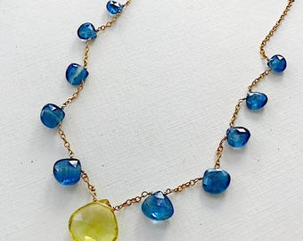Lagoon Sunrise Briolette Necklace with Blue Kyanite, Lemon Topaz