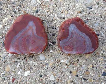 Lake Superior agate, unpolished, red and white