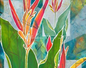 Tropical Floral ORIGINAL abstract painting Hawaii Heliconia Bird of Paradise by M. Pruitt