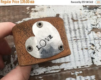 40% OFF- Stamped Leather Cuff-Word Cuff-Love-Weathered Black