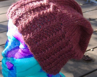 Slouchy Hat Hand Knit 100% Wool