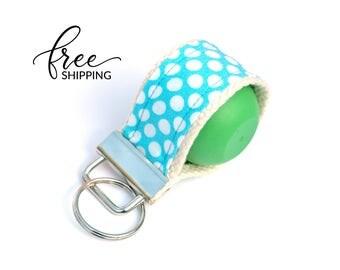 LippyLoop™ EOS Holder Keychain, Aqua Dots | Free Shipping