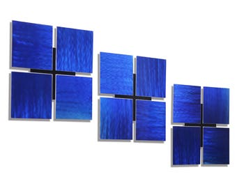 Blue Modern Metal Wall Art, Abstract Metal Accent, Set of Three, Contemporary Home & Office Decor - 3 of a Kind Blue by Jon Allen