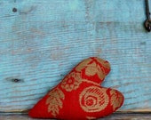 Red Antique Coverlet Heart Ornament, Rustic Heart, Farmhouse Style Primitive Stuffed Heart - READY TO SHIP