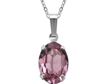 Swarovski Crystal Oval Pendant Necklace Sterling Silver Antique Pink or CHOICE OF COLOUR