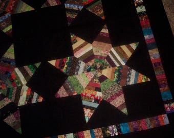 Quilt Top to Finish String Pieced Scrappy Colorful Stars on Black 57 x 57 inches