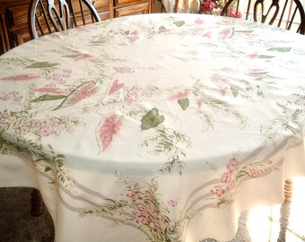 Vintage Tablecloth Lovely Caladiums Pink Green California Handprints Tag 51 x 62 inches
