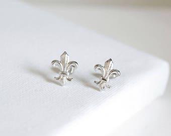 fleur de lis stud earrings . fleur de lis jewelry . simple fleur de lis studs . silver fleur de lis earrings . fleur de lys earrings / 2FLIS