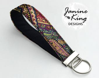 Fabric Keychain, Key Fob Wristlet, Key Fob Keychain, Key Wrist Strap,  Gift for Her under 10, Key Lanyard  Boho Paisley purple teal red MTO