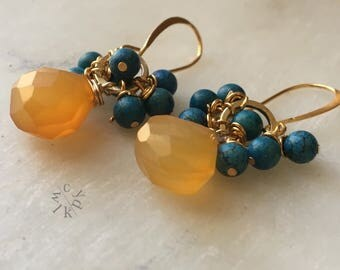 Chalcedony and Blue Howlite Cluster Earrings, Cluster Earrings, Yellow Stone Earrings, Earrings, Gemstone Earrings