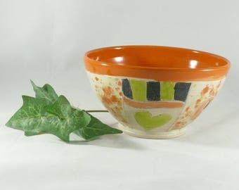 Handmade Bowl, ceramic salad bowl, handmade kitchen home decor, art bowl, salad bowl, cereal bowl, bright color, anniversary gift 853