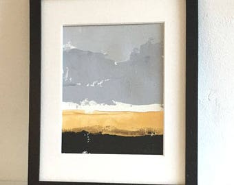 abstract landscape painting black and metallic gold original painting includes mat silver and gold decor