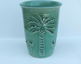 Ceramic Candle Holder/ Luminary Wheel Thrown, Hand Carved Palm Tree
