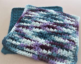 Crocheted Dishcloths -  Wash/Dish/Face Cloths - Set of 2 Dishcloths - Kitchen Accessories - House Warming Gift Basket - Mulitcolor -