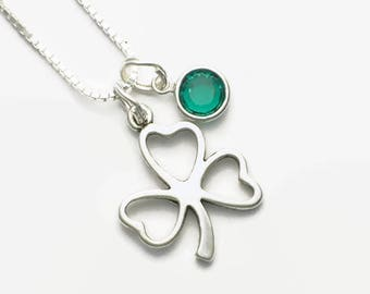Irish Shamrock Silhouette Sterling Silver Necklace Choice of Lengths 16, 18 or Inch Gift Boxed