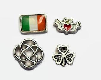 Memories of Ireland Floating Charm Set for Glass Memory Lockets Flag Celtic Knot Claddagh Shamrock