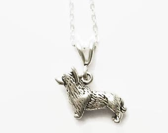 "Corgi Necklace All Sterling Silver 16"" or 18"" Cable Chain Split Bail Boxed"